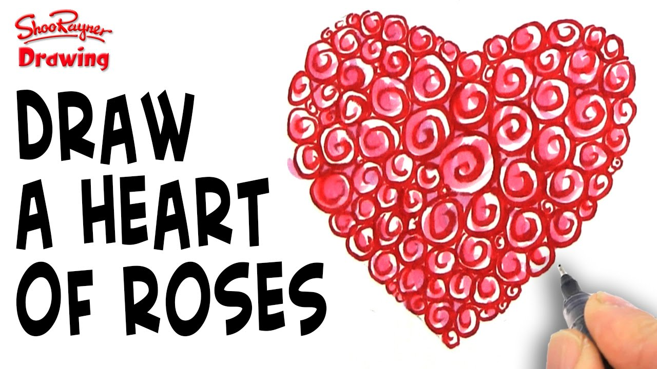 how to draw a heart made of roses for mother s day youtube
