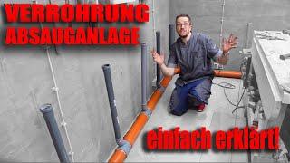 Absauganlage in der Werkstatt installieren⎮KG Rohre verlegen⎮Werkstatt Absaugung   Staubabsaugung