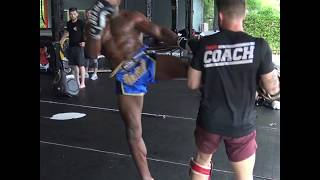 Khalil Rountree hits pads with George Hickman @ Tiger Muay Thai