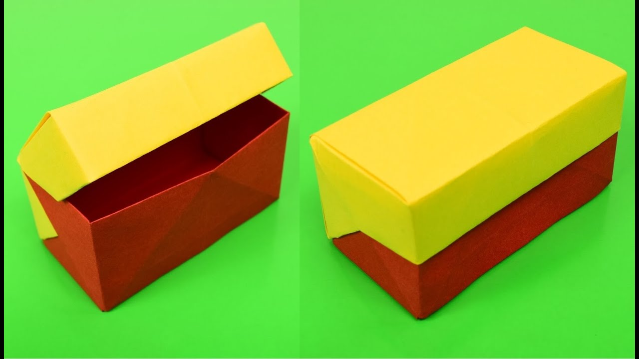 rectangle gift box origami with lid youtube