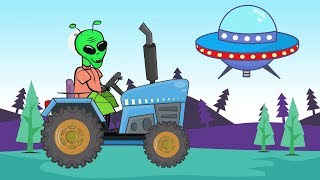 UFO Alien - Spaceman from space on the Tractor | Colors and Shapes - Bajka Traktorek i Kosmita
