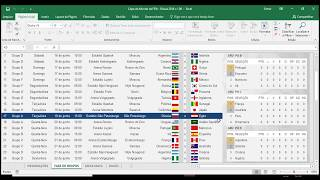 Tabela da Copa do Mundo de 2018 em Excel