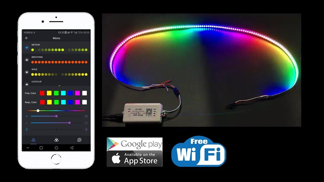wholesale dealer d0a20 e3ea4 SP108E WiFi SPI Controller Working With IOS&Android APP- For WS2812B  Addressalbe LED Strip