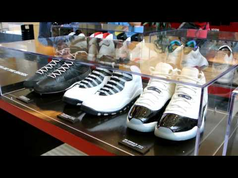 Air Jordans on display inside the Michael Jordan building at Nike WHQ