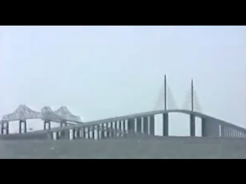 Driving Across The Sunshine Skyway 1989 - Old Bridge Clearly Visible
