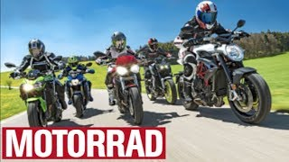 MT-09 vs. Z 900 vs. Street Triple S vs. GSX-S 750 vs. Brutale 800 (English Subtitles)