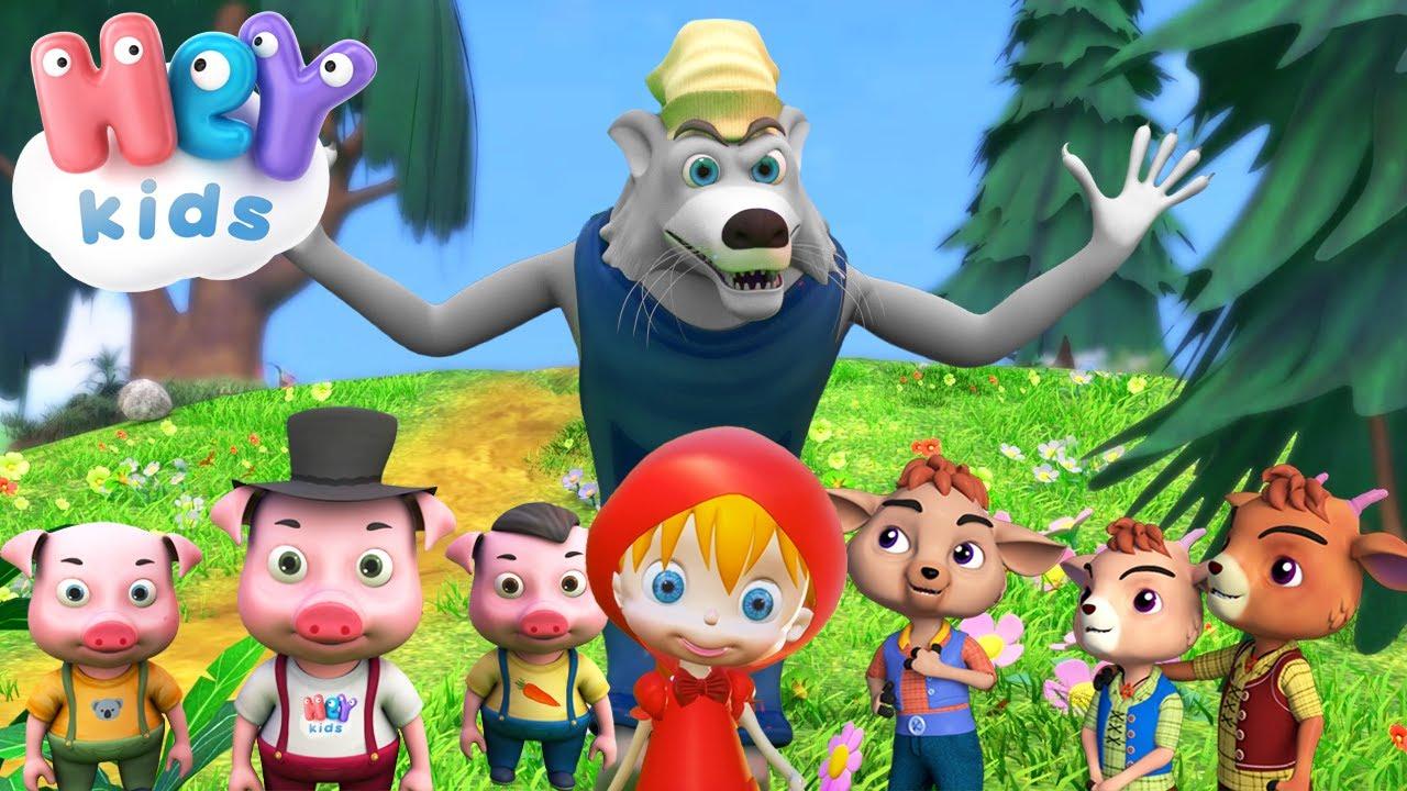 Povesti pentru copii cu lupul cel rau 🐺 Capra cu 3 iezi, Scufita Rosie, Cei 3 purcelusi - HeyKids