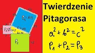 Twierdzenie Pitagorasa a2+b2=c2. Pola kwadratów na bokach trójkąta prostokątnego | MatFiz24.PL