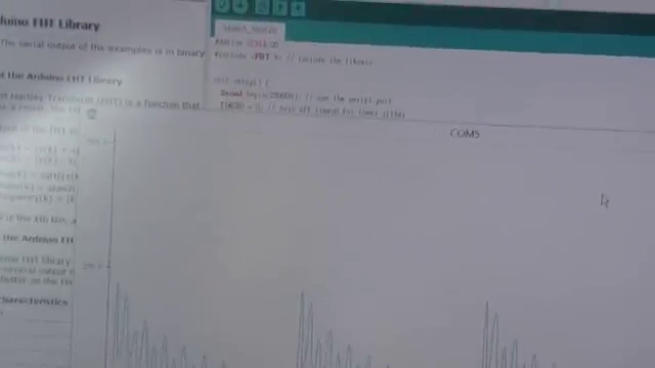 Arduino FHT Library test (real part FFT)