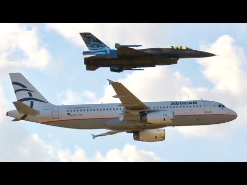 Airbus A320 Formation Lowpass with F-16 Fighter Jet! AEGEAN Airbus A320-232 - AFW2014 Airshow