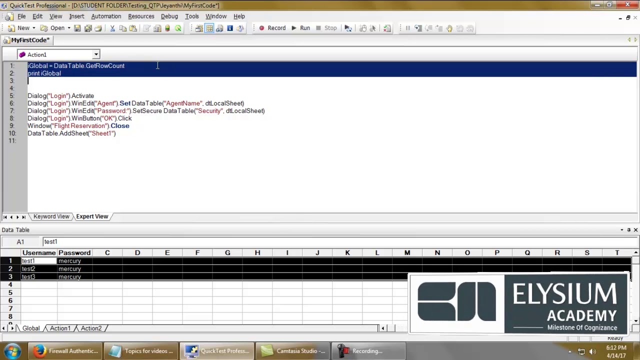 GetRowCount method – Datatables in QTP