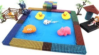 DIY How To Make Rainbow Swimming Pool with Magnetic Balls and Slime | Magnetic Balls Stop Motion