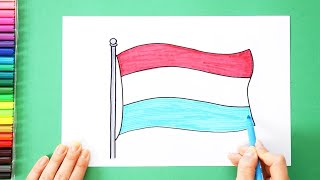 How to draw and color the National Flag of Luxembourg