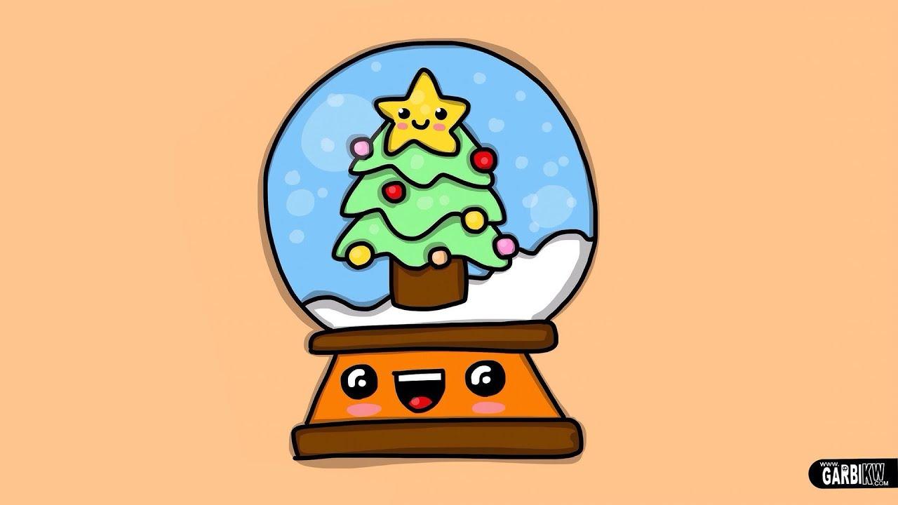 Cmo dibujar una Bola de Navidad Dibujos Navideos estilo Kawaii