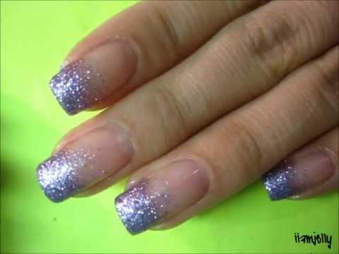 purple glitter gradient nails