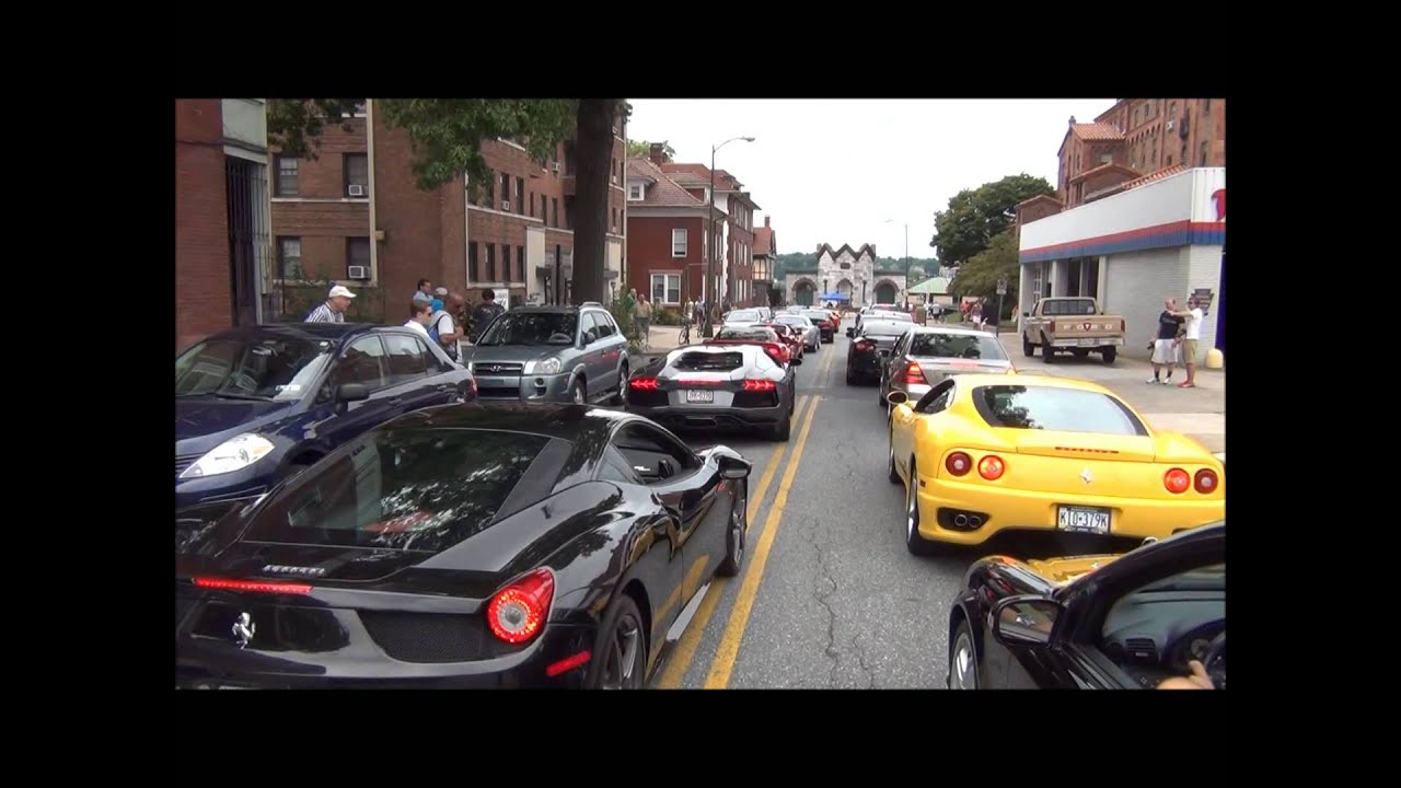 Exotic Cars Arriving At Super Cars On State Street Event