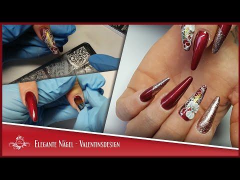 Elegante Nägel - Valentinsdesign | inkl. 4D Blume, Stamping und Pigment Verarbeitung