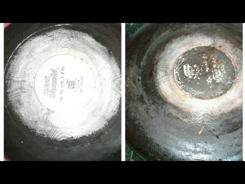 HOW TO CLEAN THE BOTTOM OF A PAN  / HOW TO REMOVE TOUGH  STAINS  FROM BACKSIDE OF PAN  OR POT
