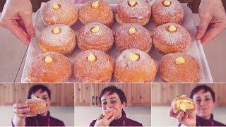 BOMBOLONI ALLA CREMA Ricetta Facile - Custard Filled Donuts Easy recipe