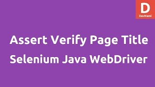 Assert verify page title Selenium Java
