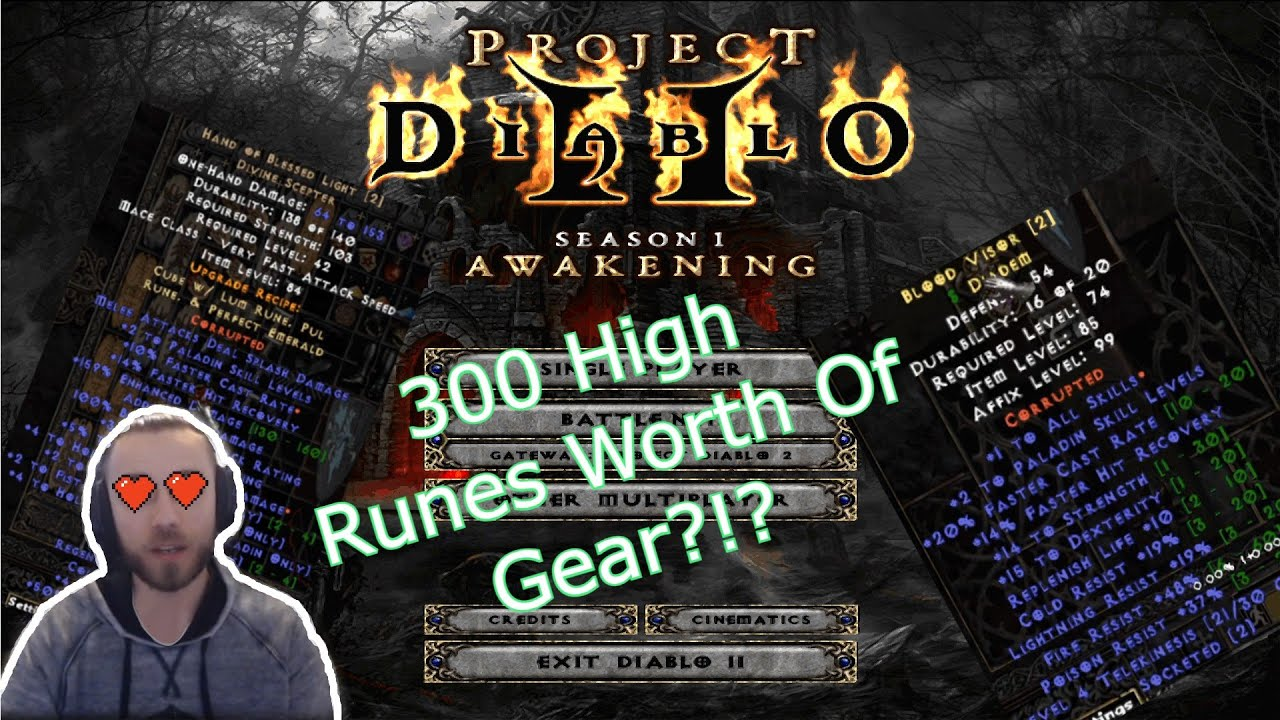 300 High Runes Of Gear Every Piece Is Best In Slot Gz S Project Diablo 2 Holy Bolt Paladin Gear Youtube