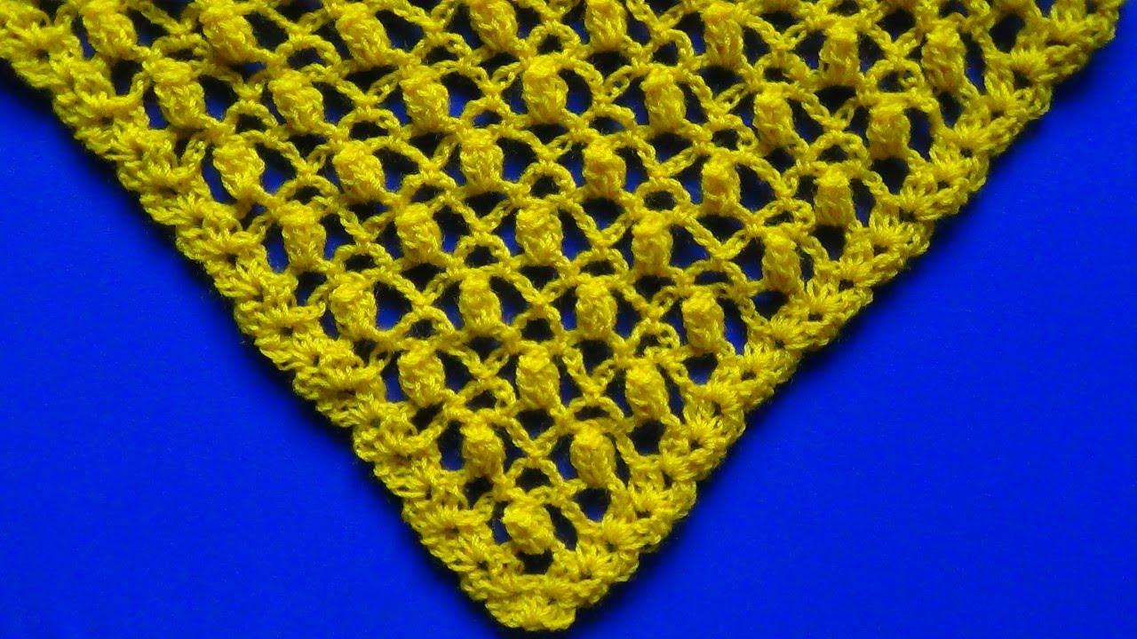 Punto a crochet para chales en V , POPCORN combinado con puntos RED ...