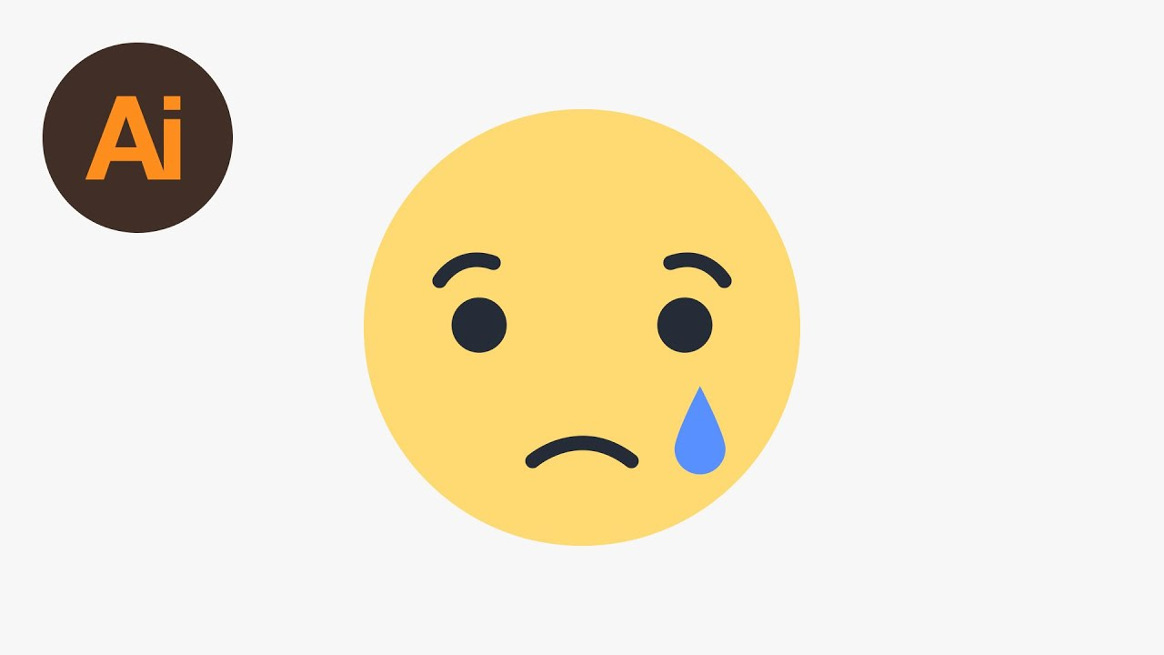 learn how to draw the facebook sad emoji in adobe illustrator