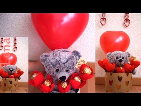 ferrero-rocher-diy-mit-bär-♥-ferrero-rocher-gift-with-bear-diy---Букет-из-конфет-ферреро-роше