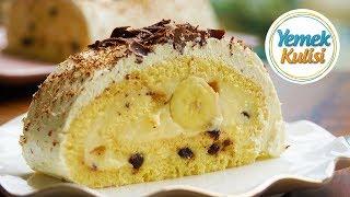 Pastane Usulü Muzlu Rulo Pasta Tarifi  Yaş Pasta nasıl yapılır