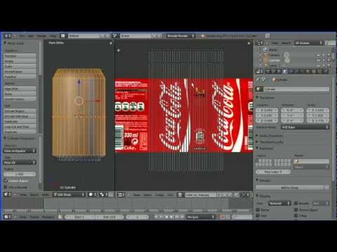 Blender Tutorial Making a Coke Can - UV Mapping and Multiple Material Slots Part 1 (Old Version)