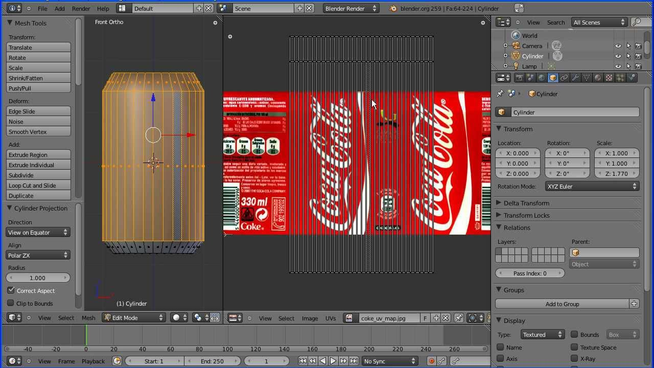 blender tutorial making a coke can uv mapping and multiple material slots part 1 old version. Black Bedroom Furniture Sets. Home Design Ideas