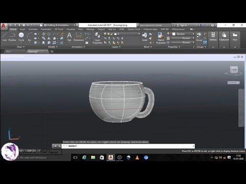 Autocad 3d Cup /Autocad In Tamil Language