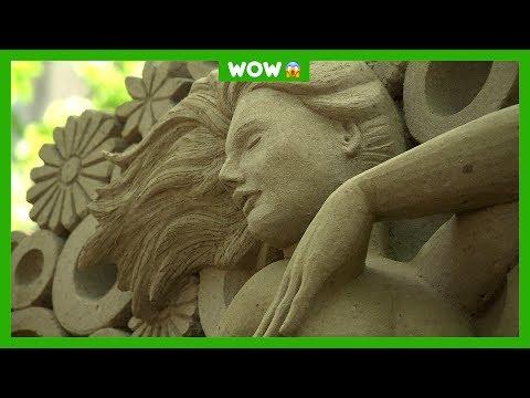 Wie maakt het mooiste kunstwerk van zand?