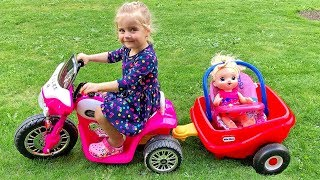 Little Girl Elis Ride On Pink Harley Davidson 12V Power Wheel with Baby Doll & Thomas Ford Wildtrak
