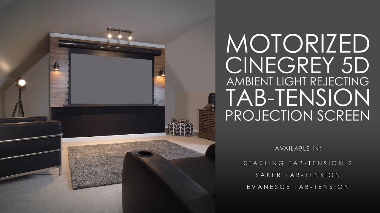 Cinegrey 5d ambient light rejecting tab tension motorized for Motorized retractable projector screen