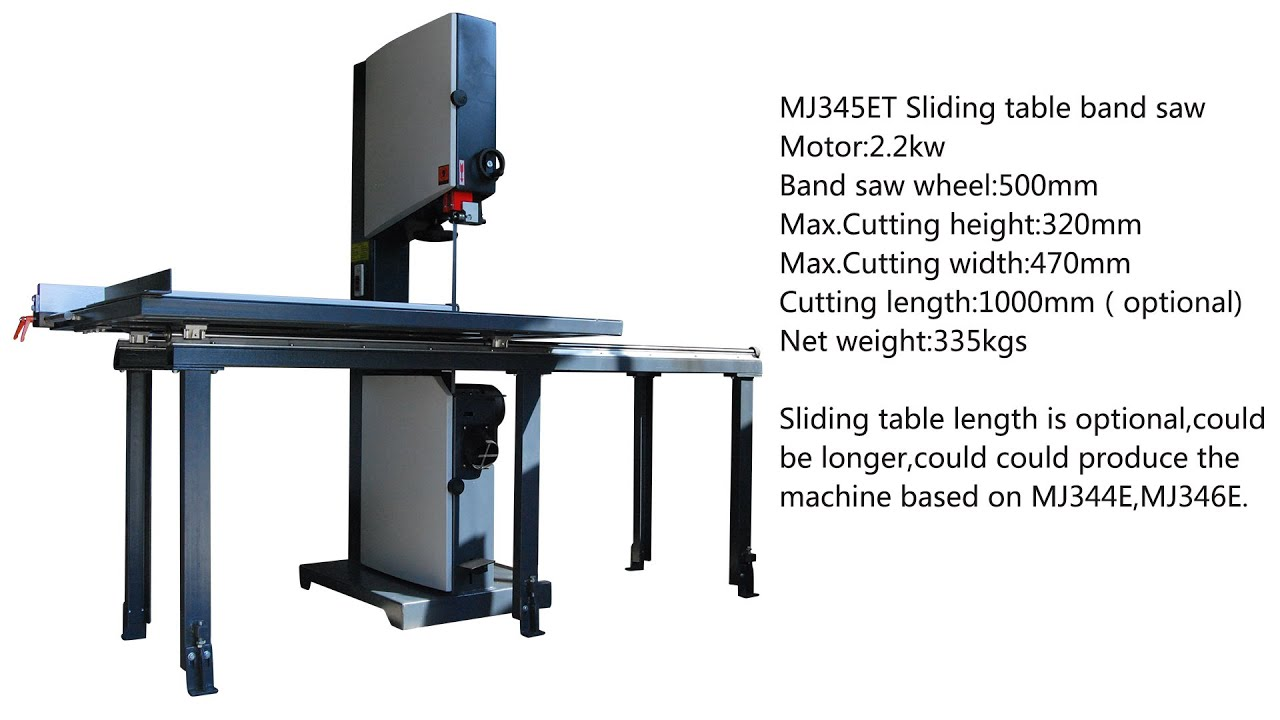 MJ345ET woodworking band saw with sliding table - YouTube
