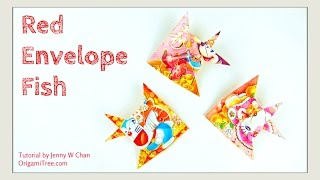 Repeat youtube video Chinese New Year Crafts: RED ENVELOPE FISH 紅包魚 - Easy Paper Crafts Tutorial