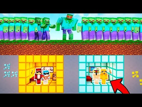 BASE SUBTERRANEA TROLL VS EJERCITO DE ZOMBIES INFECTADOS!! 😱 MINECRAFT