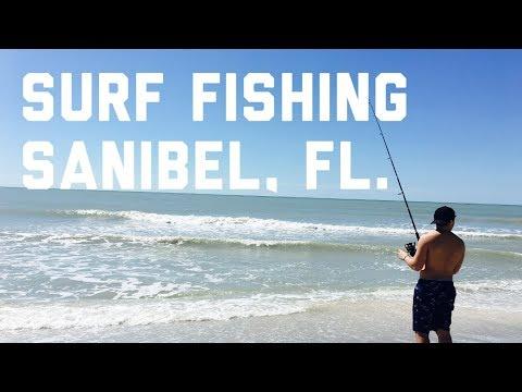 Surf Fishing Using Shrimp In Sanibel Island, Florida