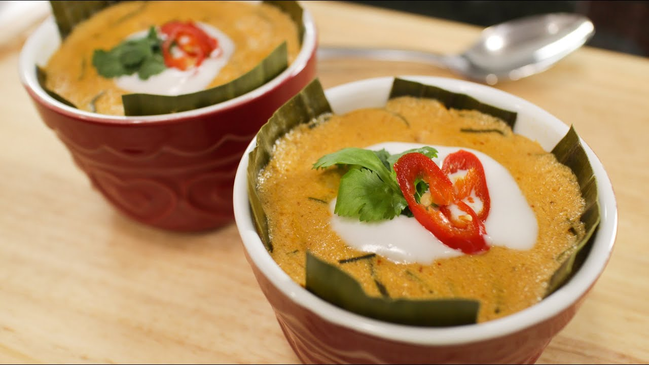 Steamed Red Curry W Fish Recipe Haw Mok Hot Thai Kitchen Youtube