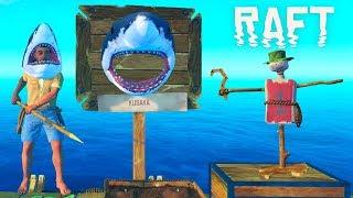 Одели ГОЛОВЫ АКУЛЫ и Поставили ПУГАЛО! Продолжаем ВЫЖИВАТЬ в ОКЕАНЕ с Funny Games TV Игра RAFT #8