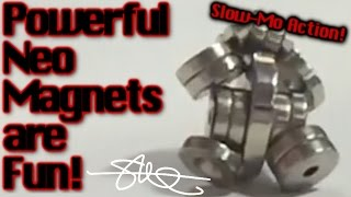 Fun with Neo Magnets - super powerful - slow mo shatter - iphone 6+ 240fps