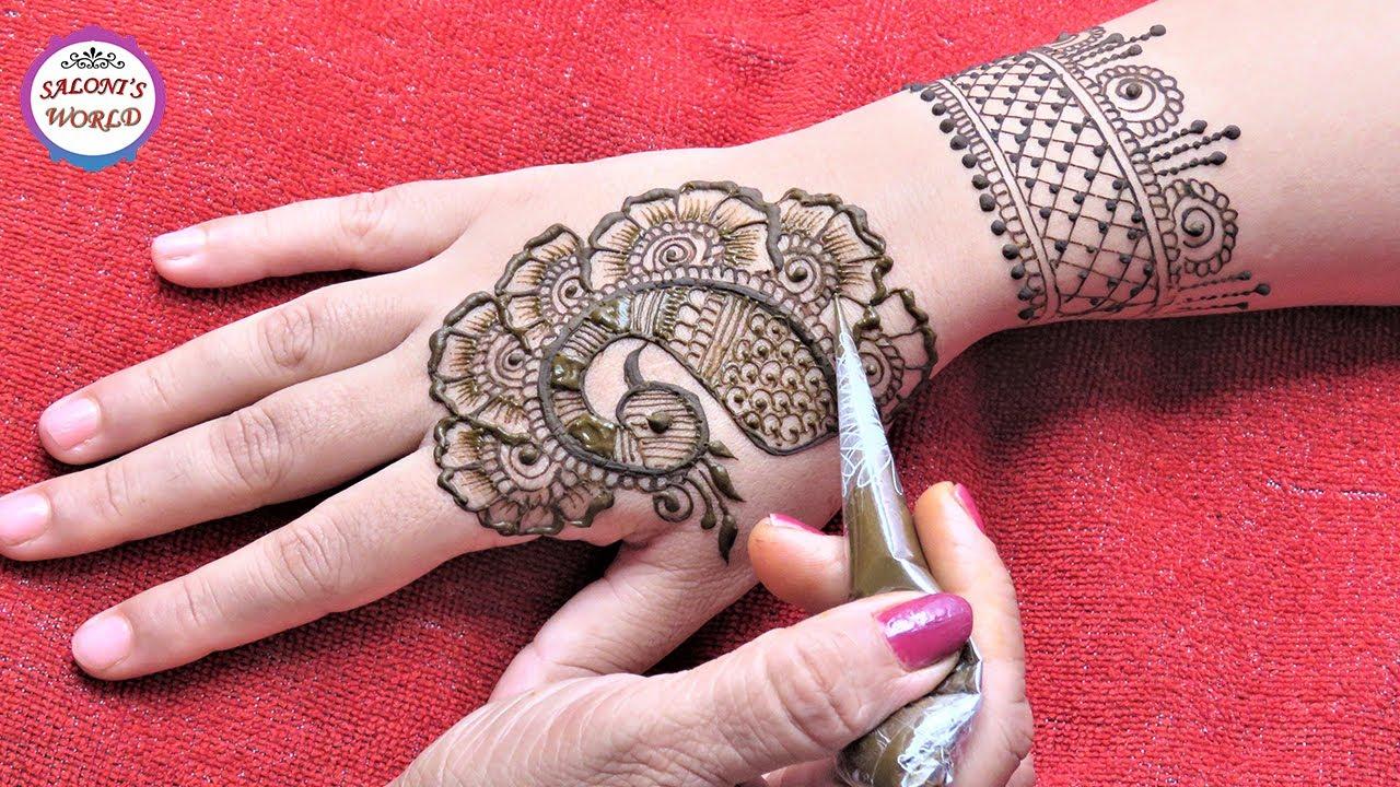 Henna Mehndi S : Peacock style back hand arabic henna mehndi designs easy mehendi