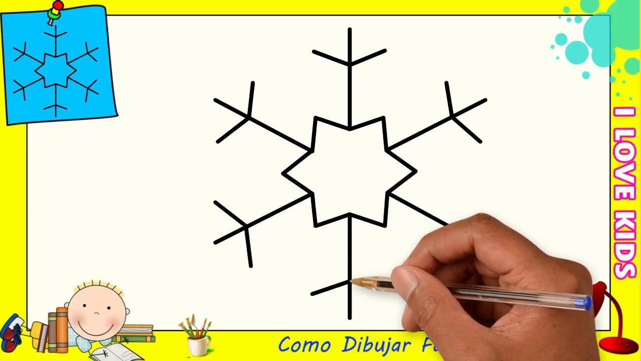 Como Dibujar Un Copo De Nieve Facil Paso A Paso Para Niños Y