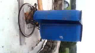 HOMEMADE Savonius VAWT wind barrel bike turbine