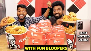KFC Burger & 20 LEG PIECE BUCKET CHALLENGE !! With BLOOPERS