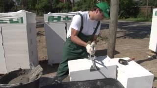 Кладка газобетона. Правила монтажа первого ряда блоков.(Строительство домов из газобетона http://karkasy.com.ua/, 2014-08-14T21:43:32.000Z)