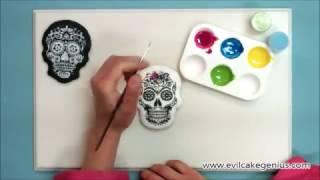 Evil Cake Genius Sugar Skulls Cake, Cookie &amp Cupcake Topper Stencil Set