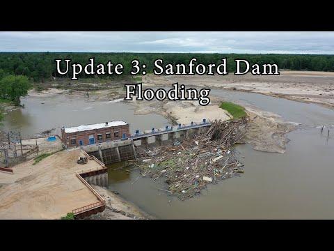 Update 3: Sanford Flood 2020 - Drone - Dam Collapse