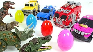 Miniforce vs Dinosaurs! Surprise eggs hunting wars - DuDuPopTOY